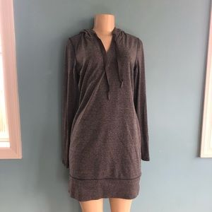 Athleta Gray Long Hoodie Ribbed Sleeve Sweater Sm